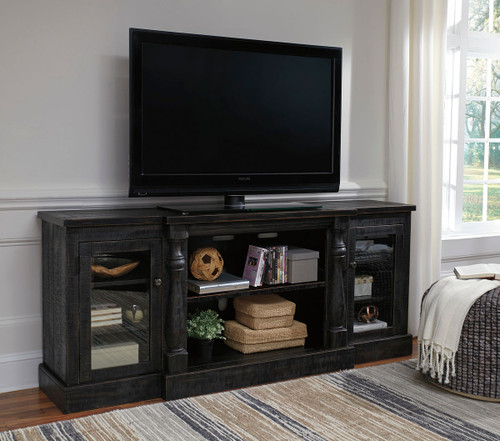 Mallacar Black XL TV Stand with Fireplace Option