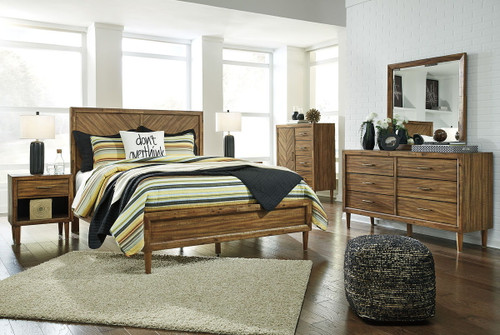 Broshtan Light Brown 8 Pc. Dresser, Mirror, Door Chest, California King Panel Bed & 2 Nightstands