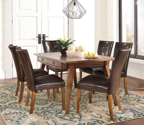 Centiar Twotone Brown 7 Pc.  Rectangular DRM Table & 6 Lacey Upholstered Side Chairs