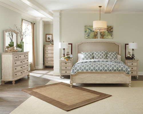 Demarlos Parchment White 8 Pc. Dresser, Mirror, Chest, California King Upholstered Panel Bed & 2 Nightstands