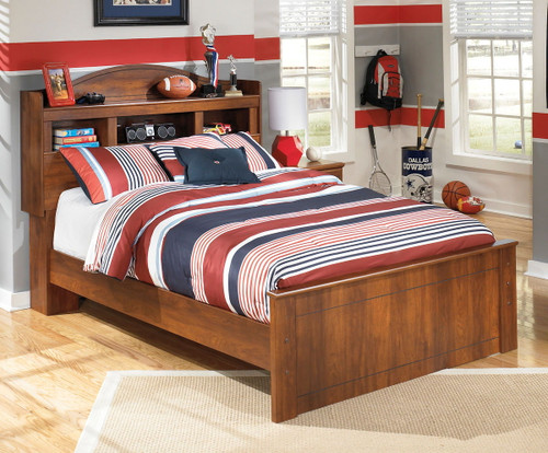 Barchan Medium Brown Full Bookcase Bed