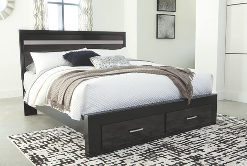Starberry Dark Brown King Panel Bed with Storage