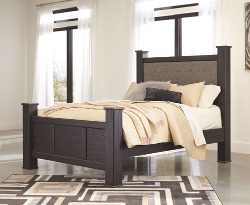 Reylow Dark Brown Queen UPH Poster Bed