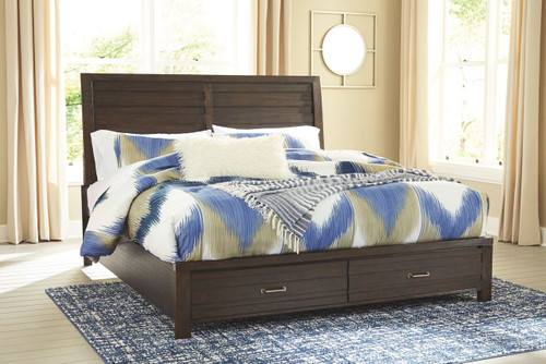 Darbry Brown Queen Panel Storage Bed