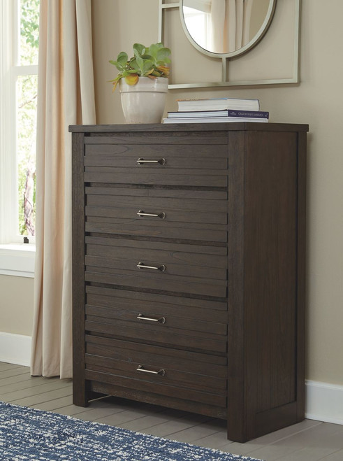 Darbry Brown Five Drawer Chest