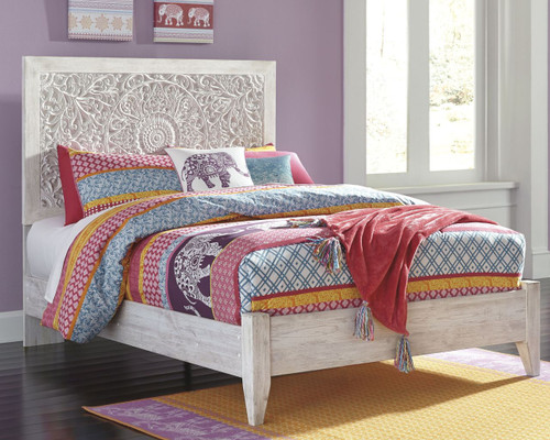 Paxberry White Wash Full Panel Bed