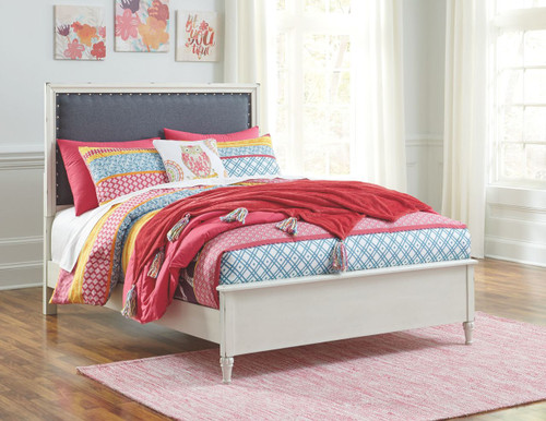 Faelene Gray Full Upholstered Panel Bed