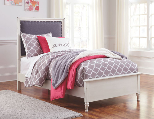 Faelene Gray Twin Upholstered Panel Bed
