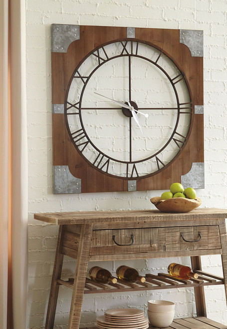 Palila Brown/Silver Finish Wall Clock
