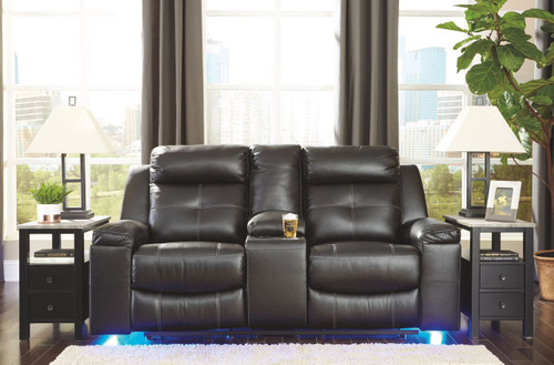 Kempten Black Double Reclining Loveseat w/Console
