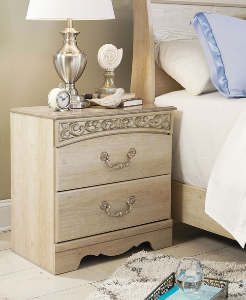 Catalina Antique White Two Drawer Night Stand