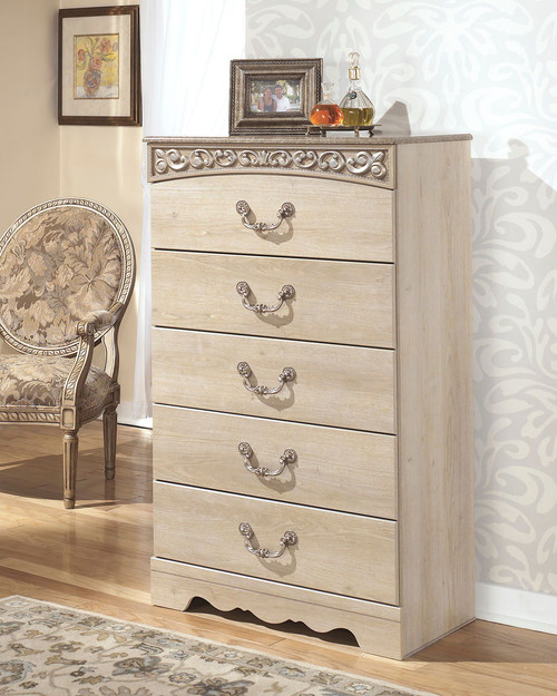 Catalina Antique White Five Drawer Chest