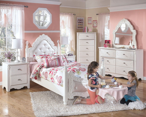 Exquisite White Dresser, French Style Mirror & Twin Poster Bed