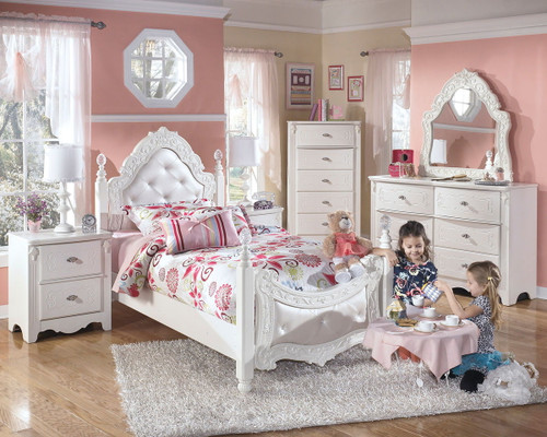 Exquisite White Dresser, French Style Mirror, Twin Poster Bed & 2 Nightstands