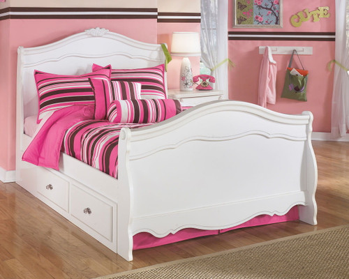 Exquisite White Full Sleigh Bed with Storage