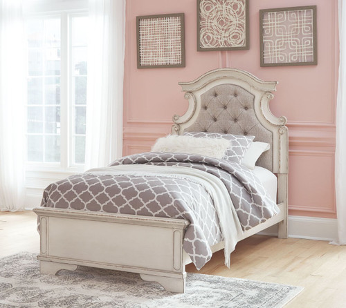 Realyn Chipped White Twin UPH Panel Bed
