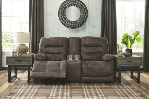 Welsford Walnut Power Reclining Loveseat/CON/ADJ HDRST