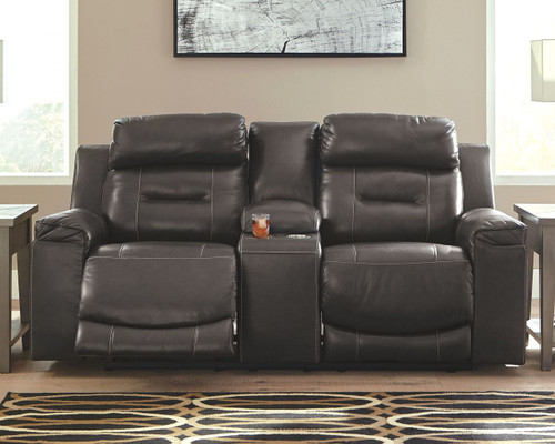 Pomellato Gray Power Reclining Loveseat/CON/ADJ HDRST