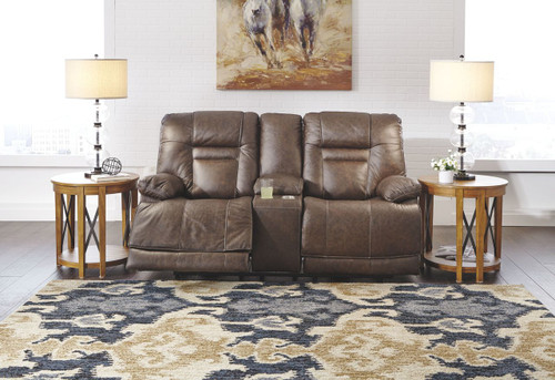 Wurstrow Umber Power Reclining Loveseat/CON/ADJ HDRST