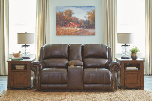 Buncrana Chocolate Power Reclining Loveseat/CON/ADJ HDRST