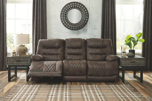 Welsford Walnut Power Reclining Sofa with ADJ Headrest