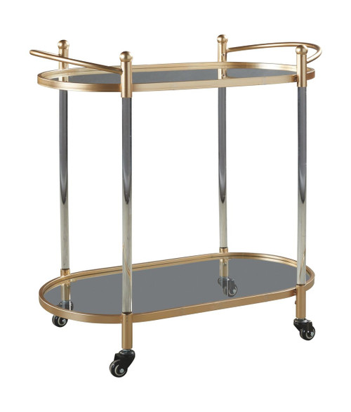 Cordland Clear/Gold Finish Bar Cart