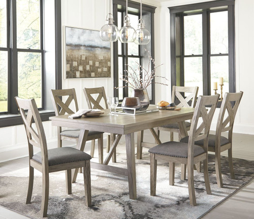 Aldwin Gray 7 Pc. Rectangular DRM Table & 6 UPH Side Chairs