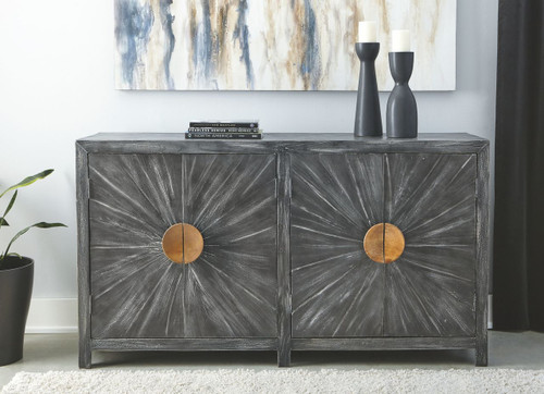 Kademore Antique Black Accent Cabinet