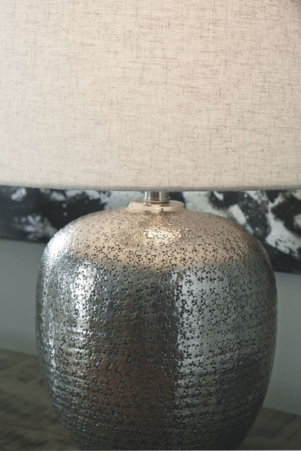 Magalie Antique Silver Finish Metal Table Lamp (1/CN)