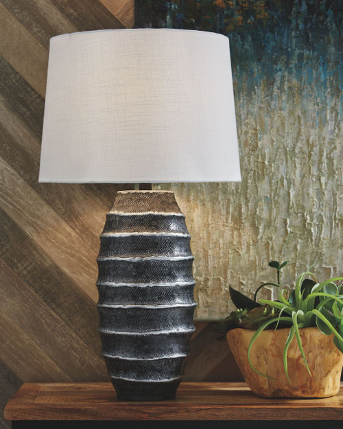 Billow Antique Silver Finish Metal Table Lamp (1/CN)
