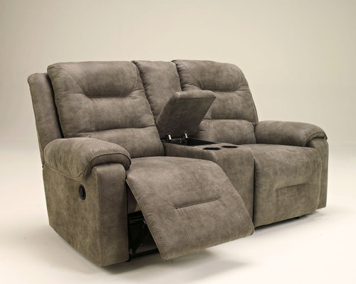 Rotation Smoke Double Rec Loveseat with Console
