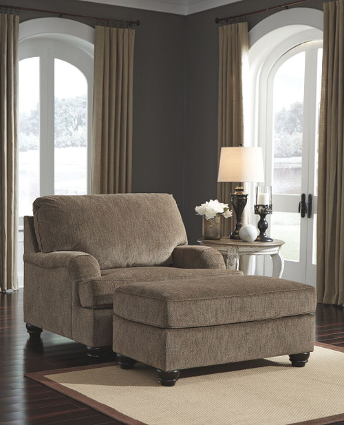 Braemar Brown Chair and a Half with Ottoman