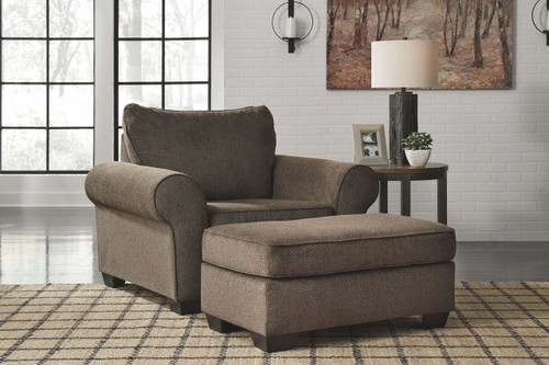 Nesso Walnut Chair and a Half with Ottoman