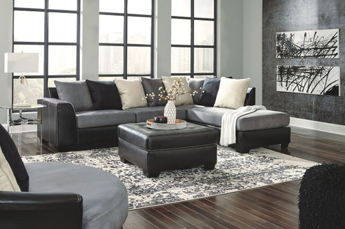 Jacurso Charcoal LAF Sofa, RAF Corner Chaise Sectional, Swivel Accent Chair & Accent Ottoman