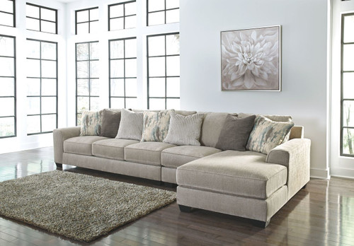 Ardsley Pewter LAF Sofa, Armless Chair & RAF Corner Chaise Sectional