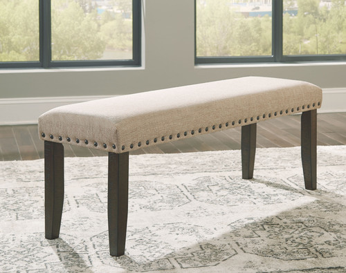 Rokane Light Brown Large Upholstered Dining Room Bench