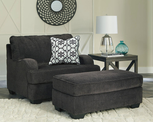 Charenton Charcoal Chair and a Half with Ottoman