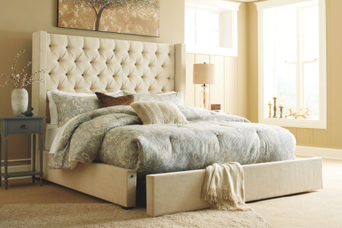 Norrister Beige King Upholstered Bed with Storage
