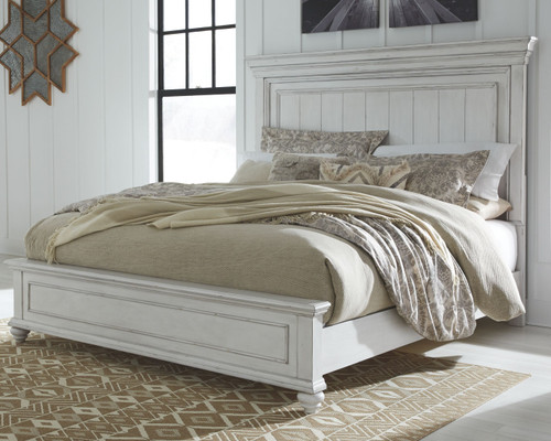 Kanwyn Whitewash King Panel Bed