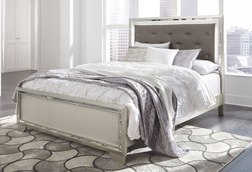 Lonnix Silver Finish Queen Panel Bed