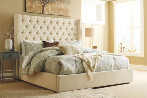 Norrister Beige Queen Upholstered Bed with Storage