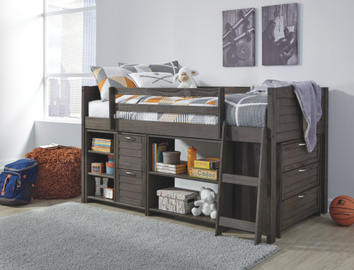 Caitbrook Whitewash Twin Loft Bed with Storage