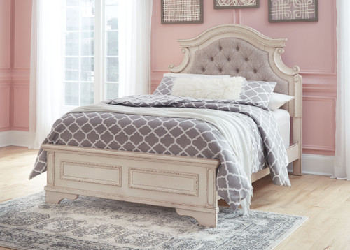 Realyn Chipped White Full Upholstered Panel Bed