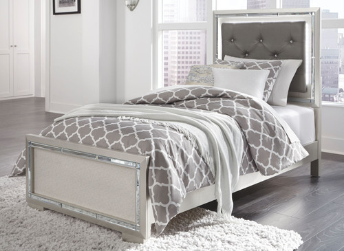 Lonnix Silver Finish Twin Panel Bed