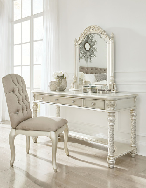 Cassimore Pearl Silver Vanity, Mirror & UPH Chair