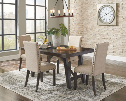 Rokane Brown 5 Pc. Rectangular DRM EXT Table & 4 Chairs