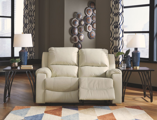 Rackingburg Cream Reclining Power Loveseat