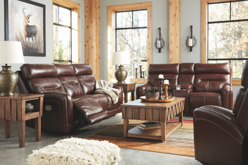 Sessom Walnut Power Reclining Sofa with ADJ HDRST, Power Reclining Loveseat CON/ADJ HDRST & Power Recliner ADJ Headrest
