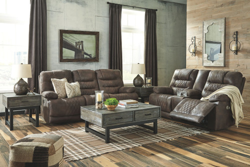 Welsford Walnut Power Reclining Sofa with ADJ Headrest & Power Reclining Loveseat with CON/ADJ HDRST