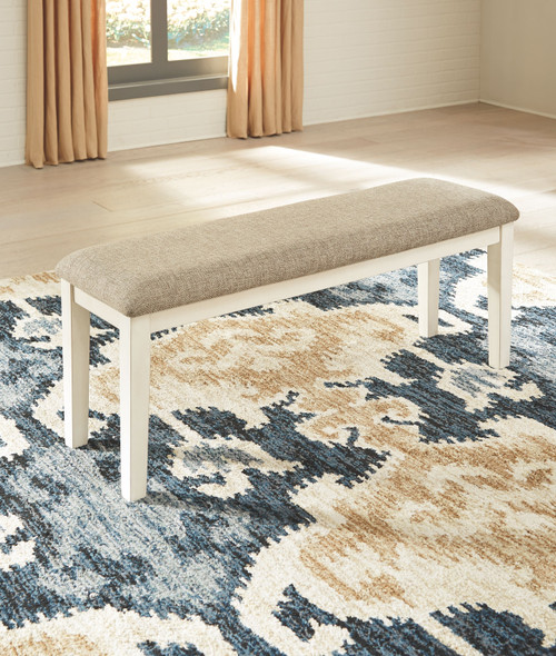 Bardilyn Antique White Upholstered Bench